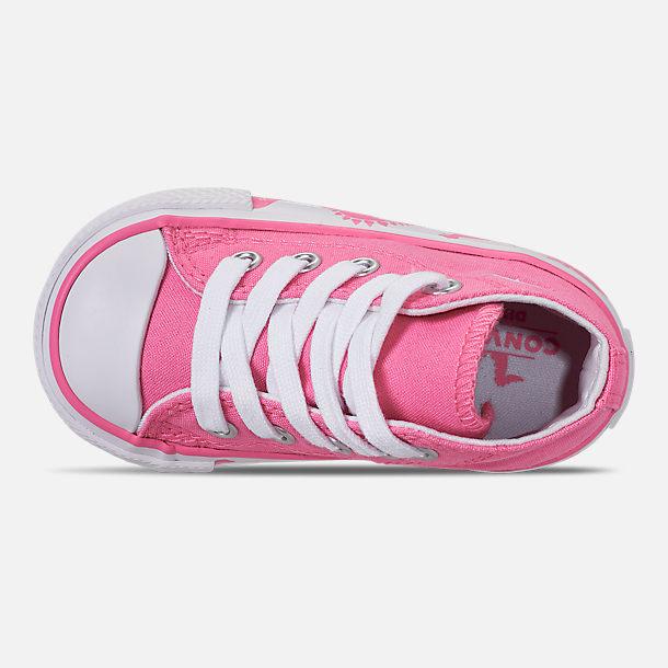 Top view of Girls' Toddler Converse Chuck Taylor All Star Dinoverse High Top Casual Shoes in Pink/White Dino