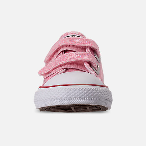Front view of Girls' Toddler Converse Chuck Taylor All Star Ox Hook-and-Loop Casual Shoes in Pink Foam/Enamel Red/White