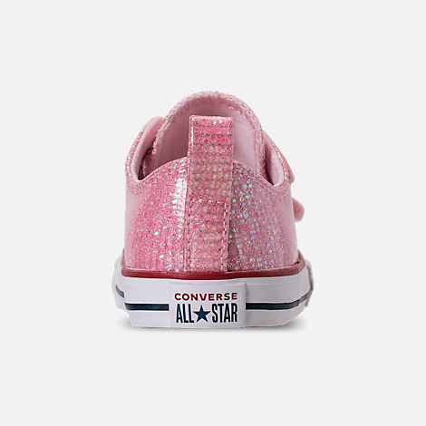 Back view of Girls' Toddler Converse Chuck Taylor All Star Ox Hook-and-Loop Casual Shoes in Pink Foam/Enamel Red/White