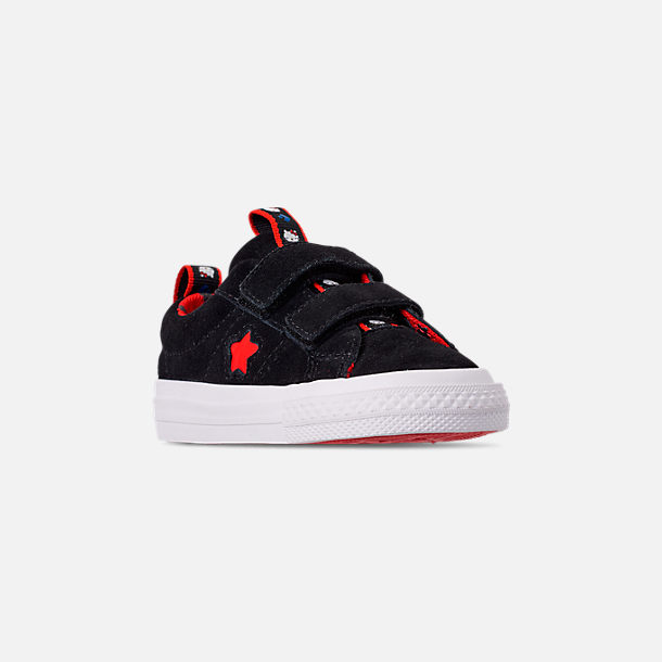 Three Quarter view of Girls' Toddler Converse x Hello Kitty One Star Casual Shoes in Black/Fiery Red