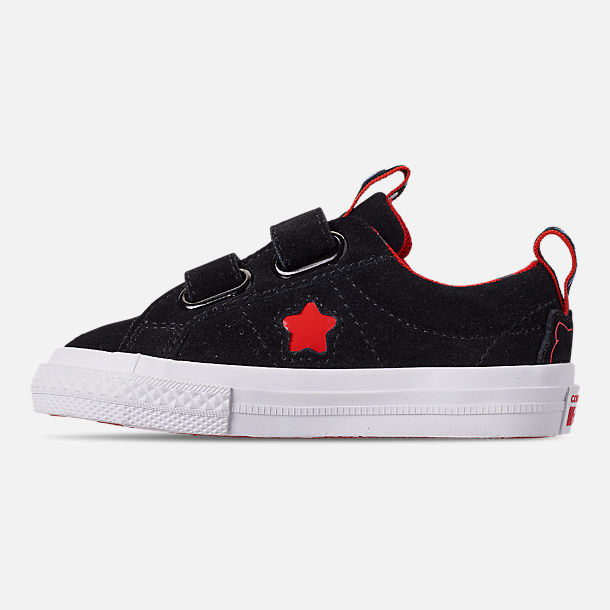 Left view of Girls' Toddler Converse x Hello Kitty One Star Casual Shoes in Black/Fiery Red