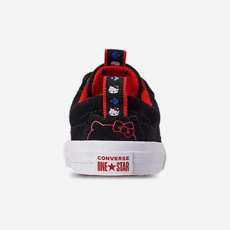 Back view of Girls' Toddler Converse x Hello Kitty One Star Casual Shoes in Black/Fiery Red