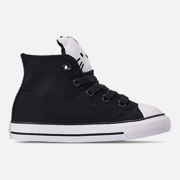 Right view of Girls' Toddler Converse x Hello Kitty Chuck Taylor All Star High Top Casual Shoes in Black/White