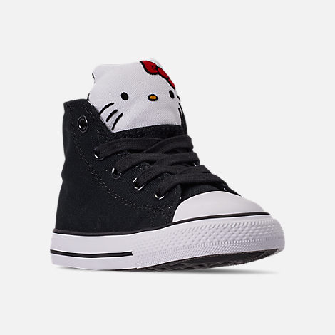 Three Quarter view of Girls' Toddler Converse x Hello Kitty Chuck Taylor All Star High Top Casual Shoes in Black/White
