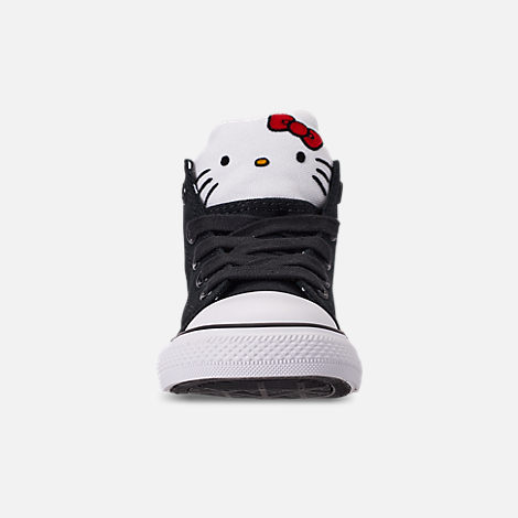Front view of Girls' Toddler Converse x Hello Kitty Chuck Taylor All Star High Top Casual Shoes in Black/White
