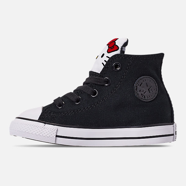 Left view of Girls' Toddler Converse x Hello Kitty Chuck Taylor All Star High Top Casual Shoes in Black/White