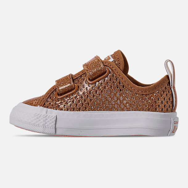 Left view of Girls' Toddler Converse Chuck Taylor Ox 2V Hook-and-Loop Casual Shoes in Bronze/Raw Sugar/White
