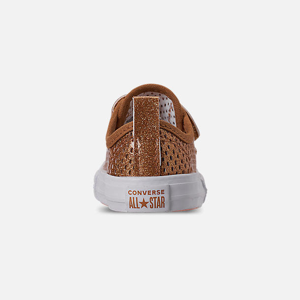 Back view of Girls' Toddler Converse Chuck Taylor Ox 2V Hook-and-Loop Casual Shoes in Bronze/Raw Sugar/White