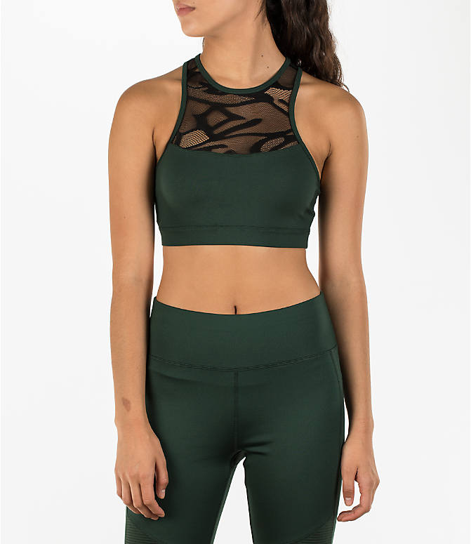Front view of Women's Activ8 High Neck Graffiti Mesh Bra in Cargo Green/Deep Black