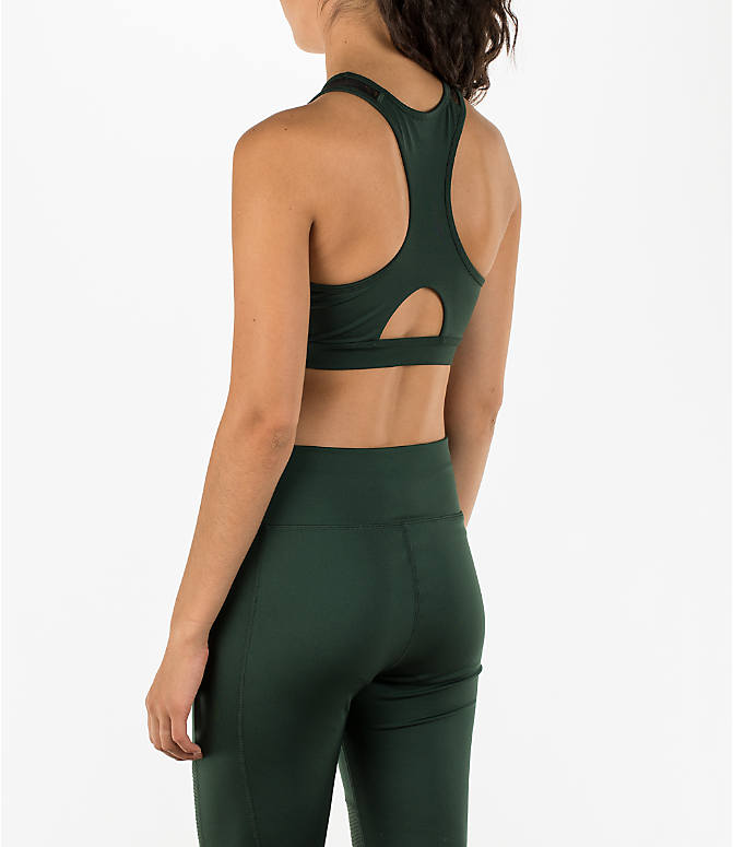 Back Left view of Women's Activ8 High Neck Graffiti Mesh Bra in Cargo Green/Deep Black