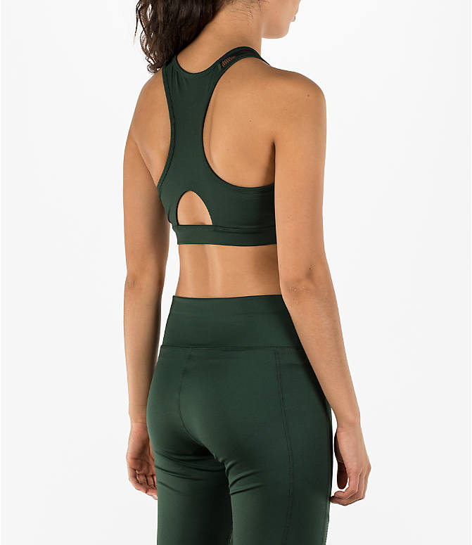 Back Right view of Women's Activ8 High Neck Graffiti Mesh Bra in Cargo Green/Deep Black