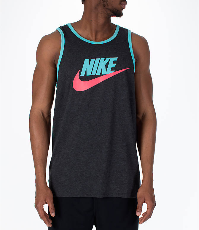 Front view of Men's Nike Sportswear Ace Logo Tank in Black Heather/Bleached Aqua