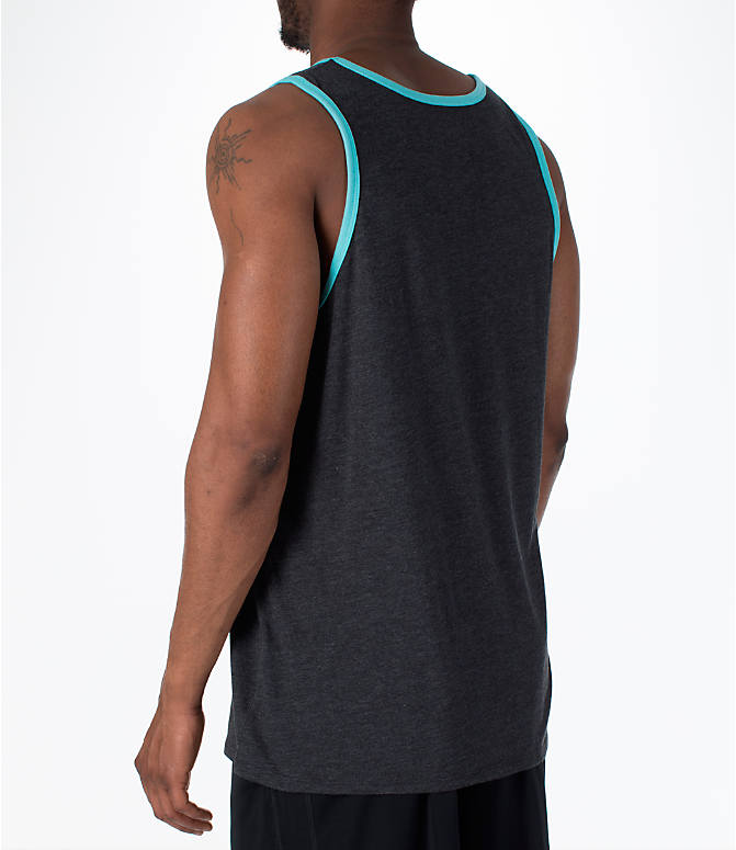 Back Left view of Men's Nike Sportswear Ace Logo Tank in Black Heather/Bleached Aqua