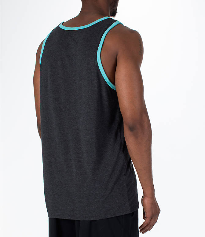 Back Right view of Men's Nike Sportswear Ace Logo Tank in Black Heather/Bleached Aqua
