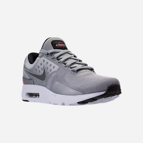 Three Quarter view of Men's Nike Air Max Zero Running Shoes in Metallic Silver/Varsity Red/Black