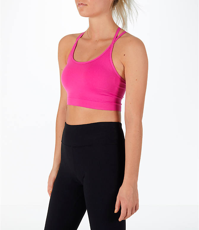 Back Left view of Women's Activ8 Seamless Crop Bra in Pink