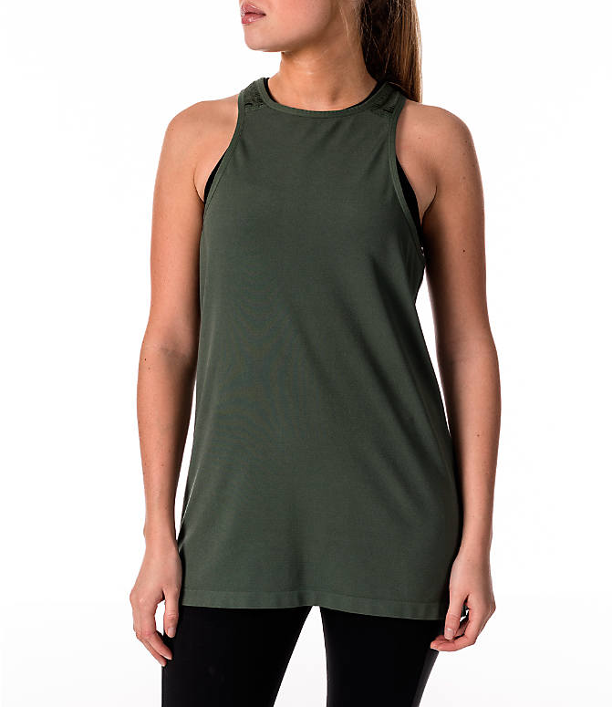 Front view of Women's Activ8 Slash Halter Tank in Moss