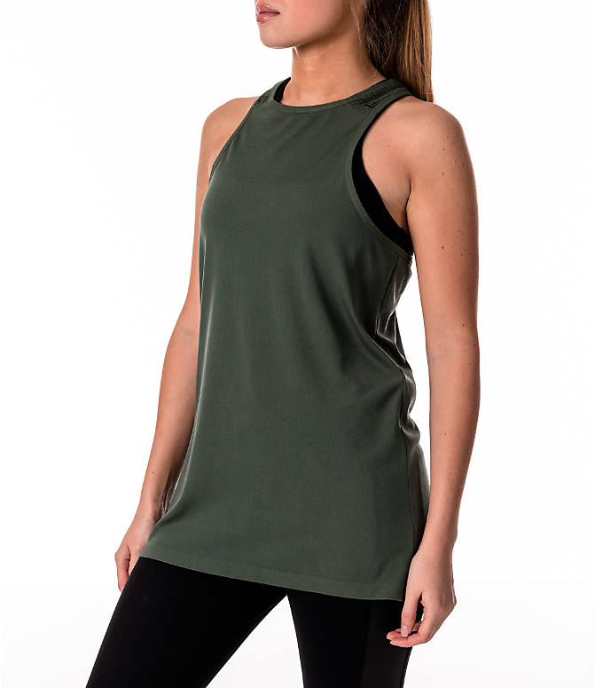 Front Three Quarter view of Women's Activ8 Slash Halter Tank in Moss