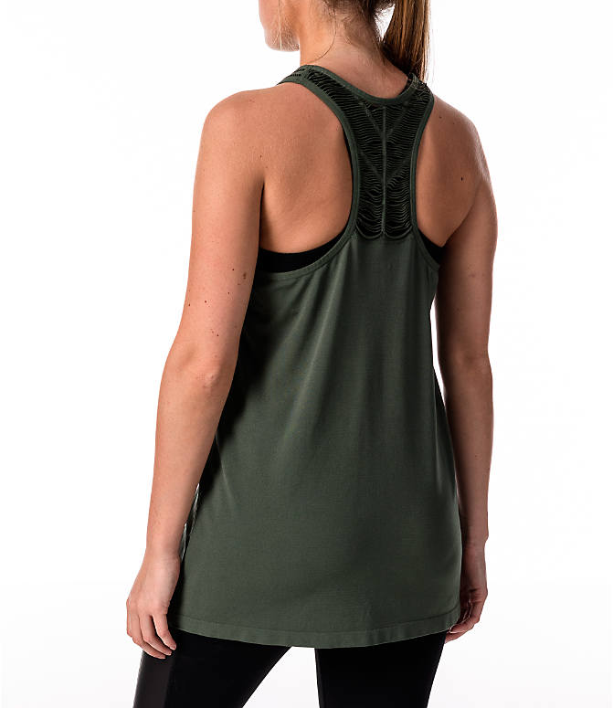 Back Left view of Women's Activ8 Slash Halter Tank in Moss