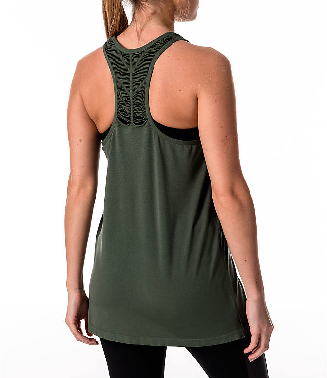 Back Right view of Women's Activ8 Slash Halter Tank in Moss