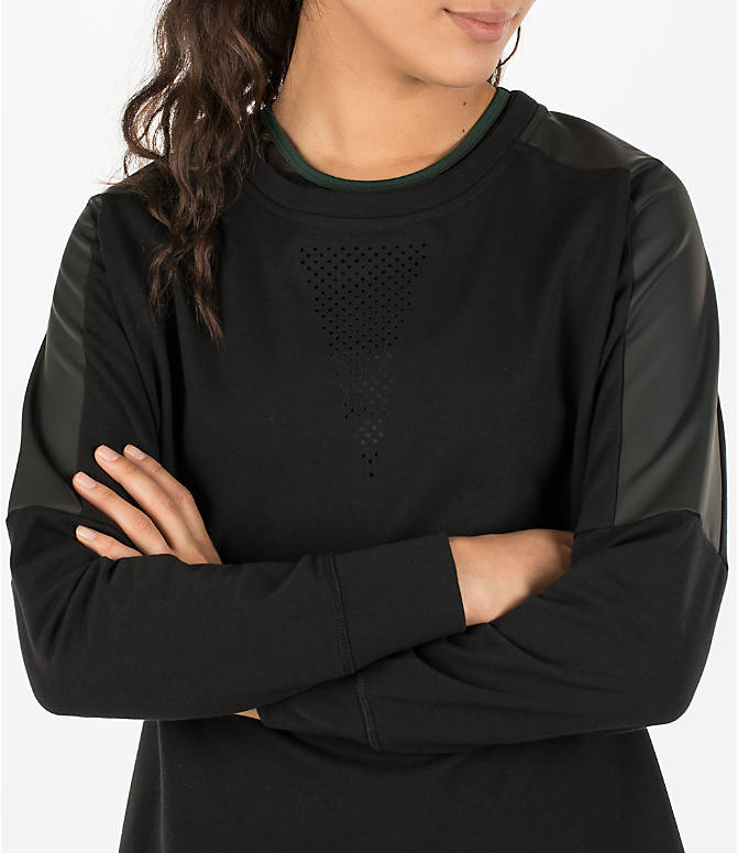 Detail 1 view of Women's Activ8 Leather Metro Terry Scoop Neck Shirt in Deep Black/Deep Black