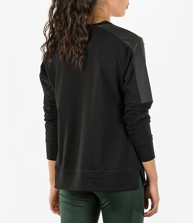 Back Right view of Women's Activ8 Leather Metro Terry Scoop Neck Shirt in Deep Black/Deep Black