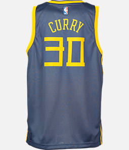 Kids' Nike Golden State Warriors NBA Stephen Curry City Edition Swingman Connected Jersey