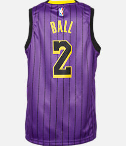 Kids' Nike Los Angeles Lakers NBA Lonzo Ball City Edition Swingman Connected Jersey