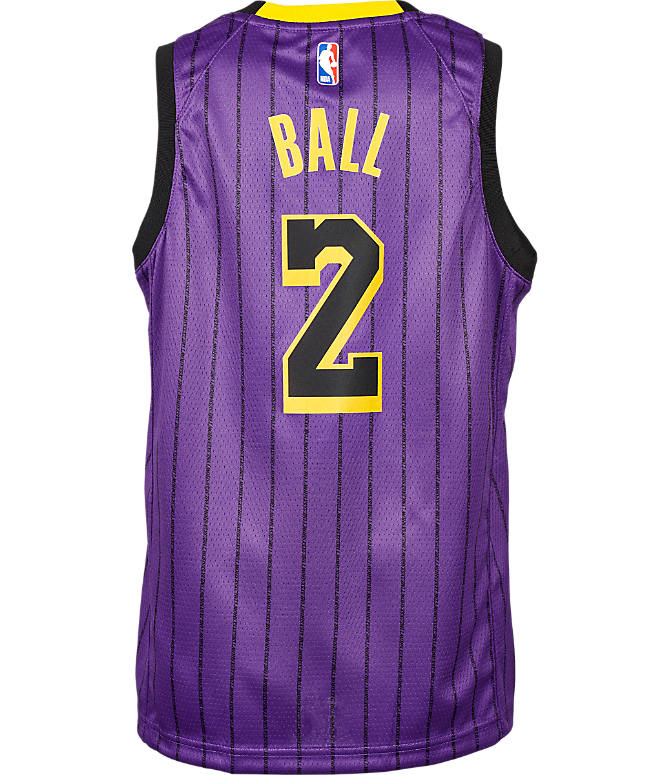 Front view of Kids  Nike Los Angeles Lakers NBA Lonzo Ball City Edition  Swingman Connected a00eac91e