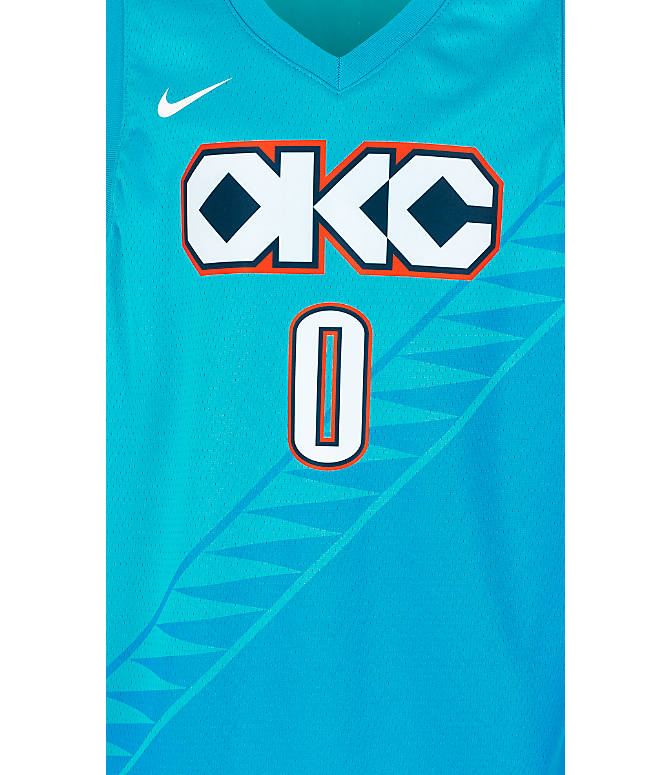 Product 3 view of Kids' Nike Oklahoma City Thunder NBA Russel Westbrook City Edition Swingman Connected Jersey in Blue