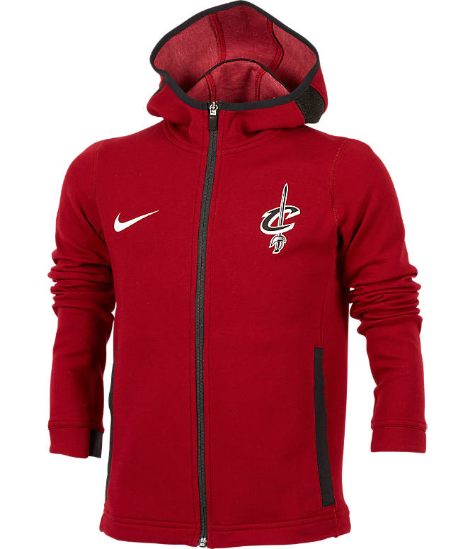 Front view of Kids' Nike Cleveland Cavaliers NBA Showtime Full-Zip Hoodie in Team Red