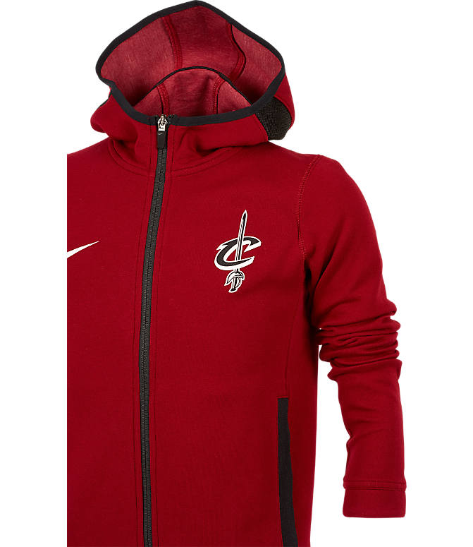 Back view of Kids' Nike Cleveland Cavaliers NBA Showtime Full-Zip Hoodie in Team Red