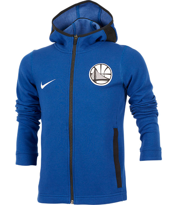Front view of Kids' Nike Golden State Warriors NBA Showtime Full-Zip Hoodie in Rush Blue