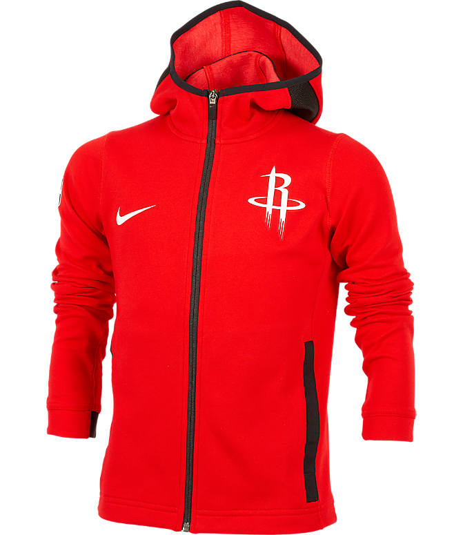 Front view of Kids' Nike Houston Rockets NBA Showtime Full-Zip Hoodie in University Red