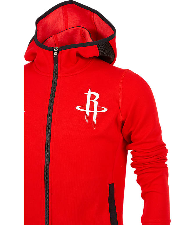 Back view of Kids' Nike Houston Rockets NBA Showtime Full-Zip Hoodie in University Red