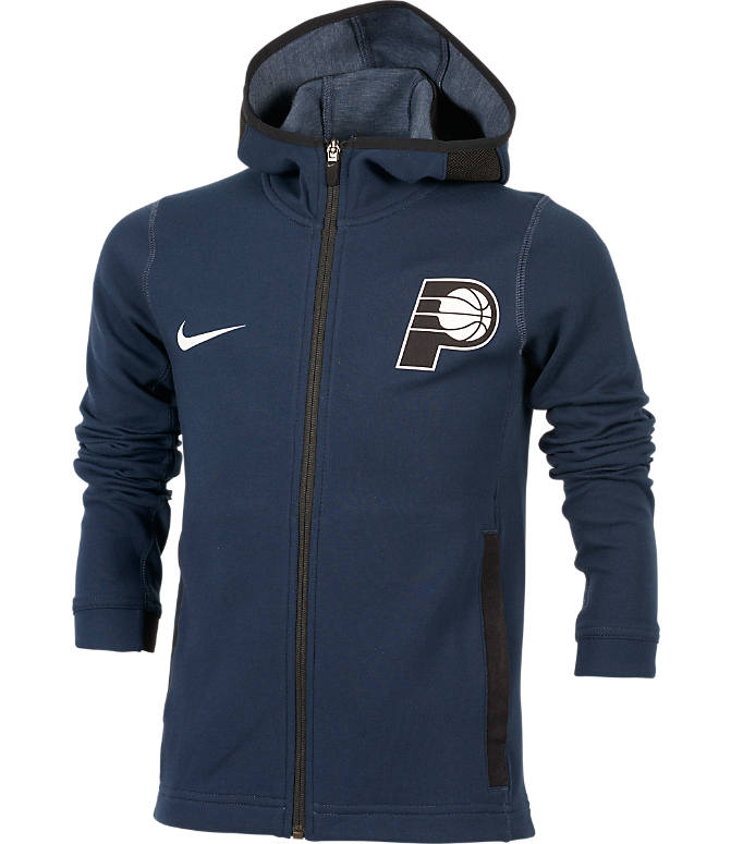 Front view of Kids' Nike Indiana Pacers NBA Showtime Full-Zip Hoodie in Navy