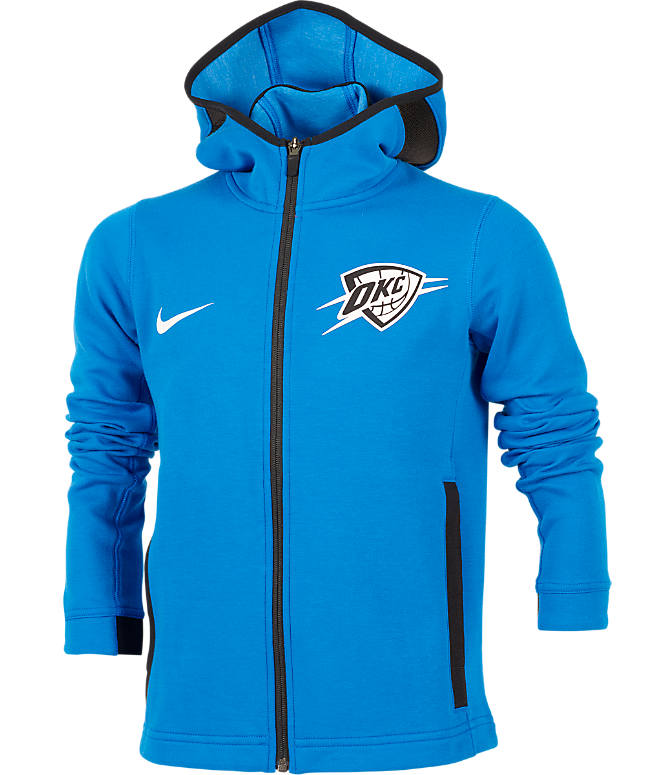 Front view of Kids' Nike Oklahoma City Thunder NBA Showtime Full-Zip Hoodie in Signal Blue