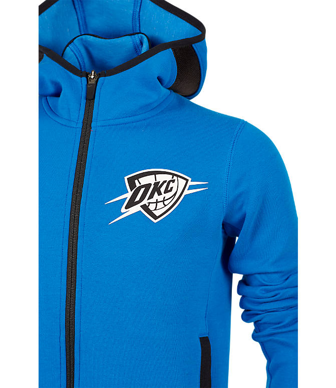 Back view of Kids' Nike Oklahoma City Thunder NBA Showtime Full-Zip Hoodie in Signal Blue