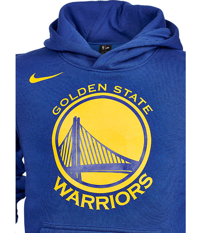 Back view of Kids' Nike Golden State Warriors NBA Logo Hoodie in Rush Blue