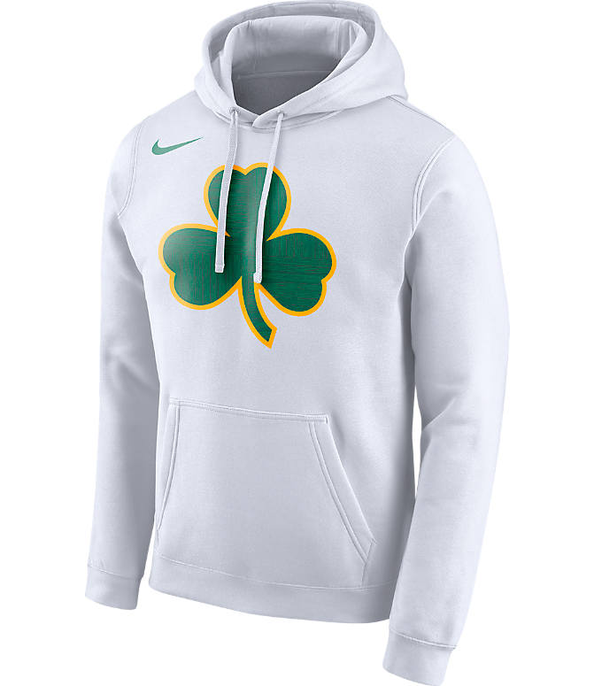 Front view of Kids' Nike Boston Celtics NBA City Edition Logo Essential Hoodie in White