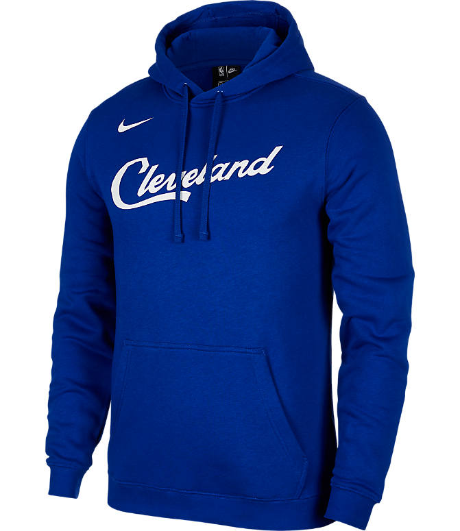Front view of Kids' Nike Cleveland Cavaliers NBA City Edition Logo Essential Hoodie in Rush Blue