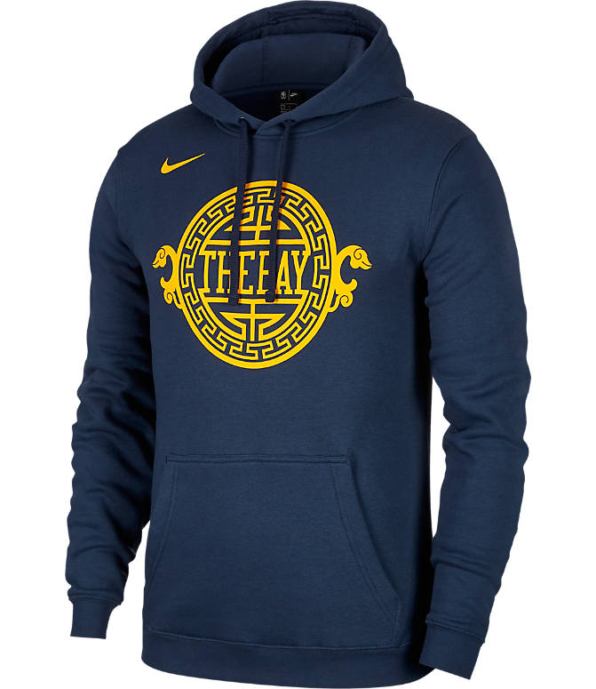 Front view of Kids  Nike Golden State Warriors NBA City Edition Logo  Essential Hoodie in b7ffcd5c7