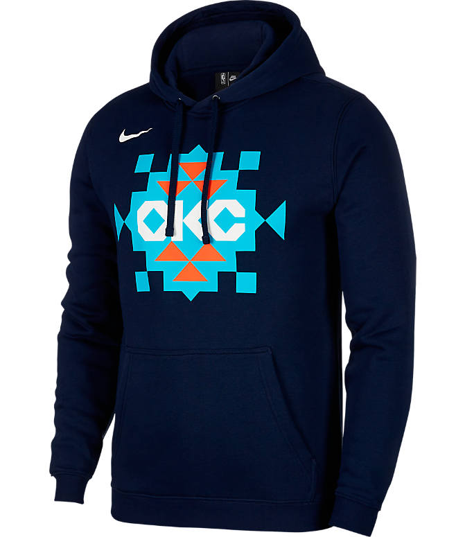 Front view of Kids' Nike Okalahoma City Thunder NBA City Edition Logo Essential Hoodie in Blue