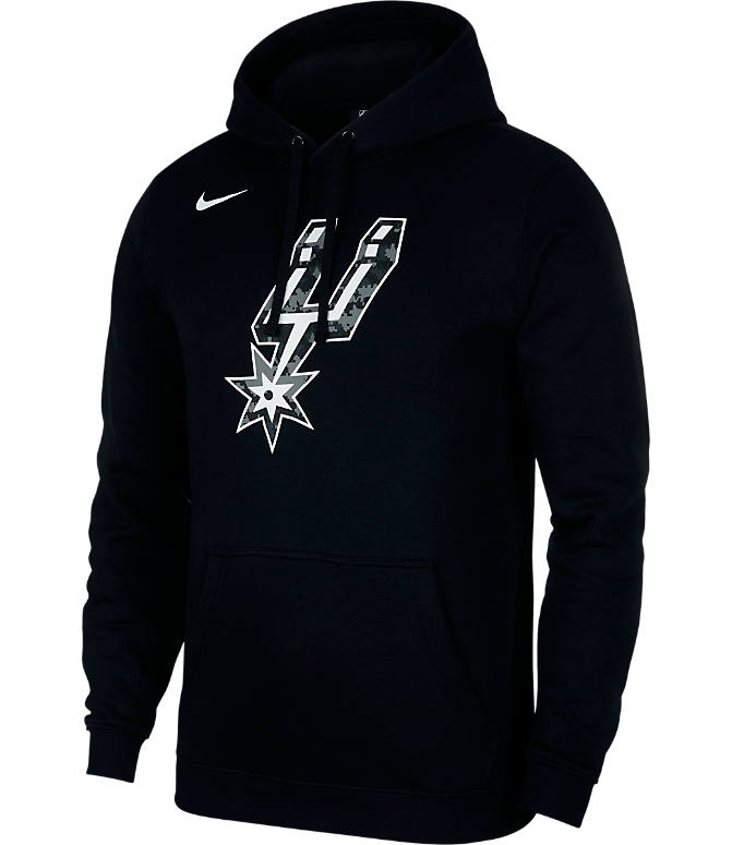 Front view of Kids' Nike San Atonio Spurs NBA City Edition Logo Essential Hoodie in Black