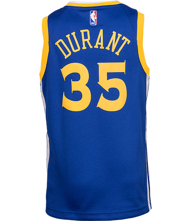 Front view of Kids' Nike Golden State Warriors NBA Kevin Durant Icon Edition Swingman Connected Jersey in Rush Blue/White/Amarillo
