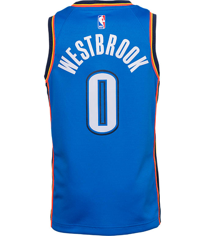 Front view of Kids' Nike Oklahoma City Thunder NBA Russell Westbrook Icon Edition Swingman Connected Jersey in Signal Blue/College Navy