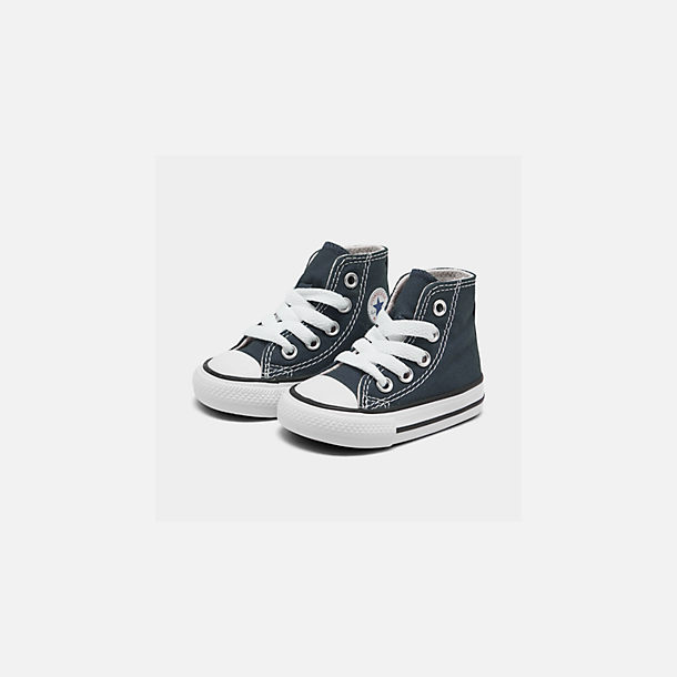 Three Quarter view of Kids' Toddler Converse Chuck Taylor Hi Casual Shoes in Navy