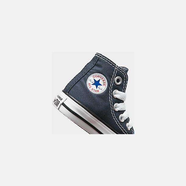 Front view of Kids' Toddler Converse Chuck Taylor Hi Casual Shoes in Navy