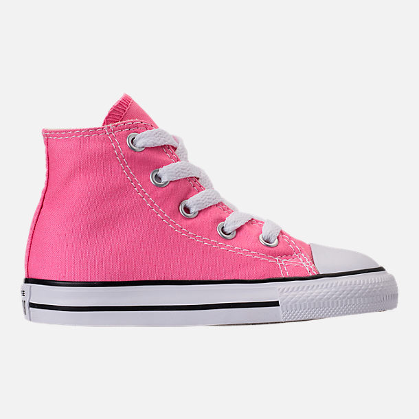 Right view of Girls' Toddler Converse Chuck Taylor High Top Casual Shoes in Pink/White