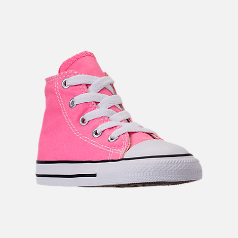 Three Quarter view of Girls' Toddler Converse Chuck Taylor High Top Casual Shoes in Pink/White